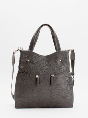 Coco Leather Satchel - Grey