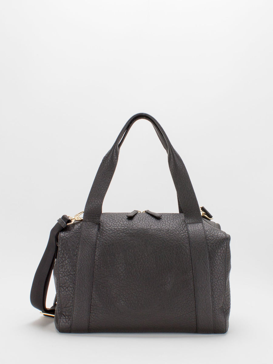 Madelyn Leather Carryall Duffle Bag - Black