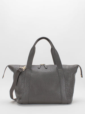 Madelyn Leather Carryall Duffle Bag -  Grey