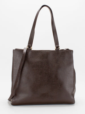 Julia Large Leather Tote - Dark Brown