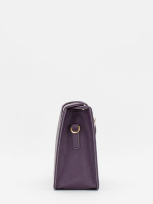 Sofia Leather Shoulder Bag - Eggplant
