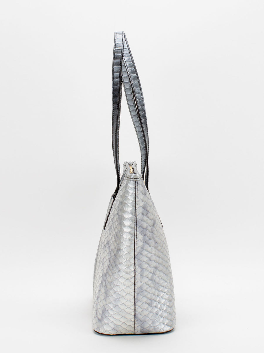 a04151bf5 Molly Leather Tote - Silver Metallic