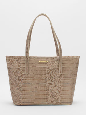 Molly Leather Tote - Taupe