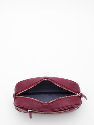 Amber Leather Camera Bag - Burgundy