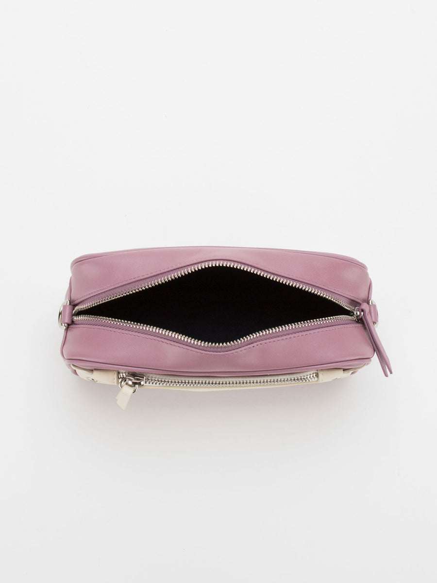 Amber Colourblock Leather Camera Bag - Dusty Rose/Beige