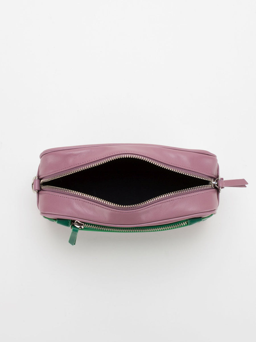Amber Colourblock Leather Camera Bag - Dusty Rose/Green