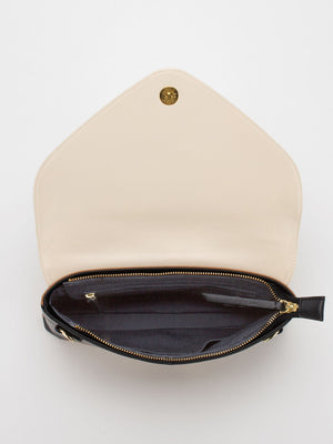 Ruby Colourblock Leather Convertible Clutch - Beige/Camel/Black