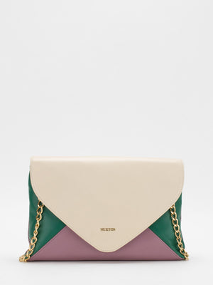 Ruby Colourblock Leather Convertible Clutch - Beige/Rose/Green