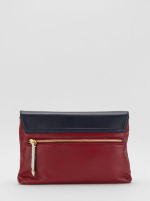 Ruby Colourblock Leather Shoulder Bag - Navy/Red/Beige