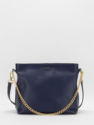 Layla Leather Shoulder Bag - Navy
