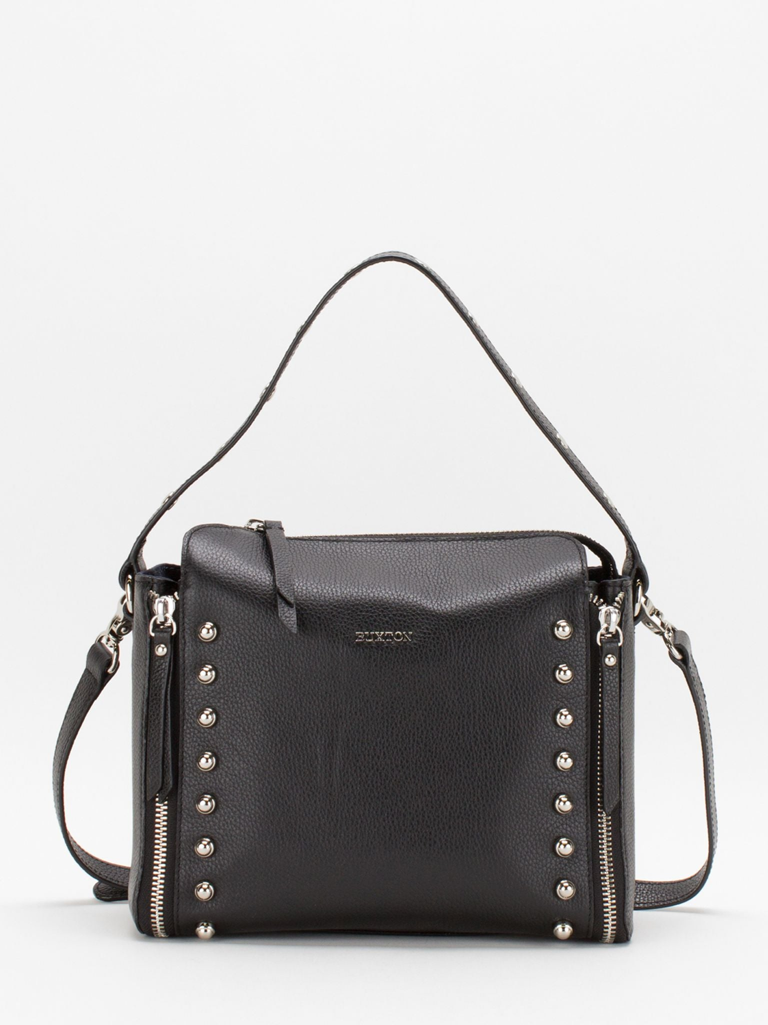 Hallie Studs Accent Leather Bag - Black