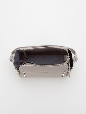 Hallie Stud Detail Leather Bag - Grey