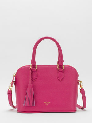 Serina Leather Dome Satchel – Fuchsia