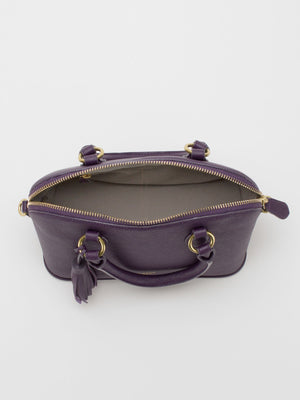 Serina Leather Dome Satchel – Eggplant