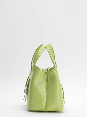 Charlee Leather Satchel - Apple Green