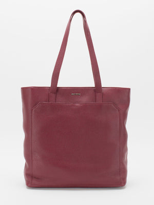 Macey Pebble Leather Tote -  Burgundy