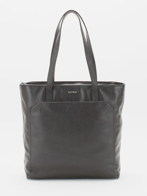 Macey Pebble Leather Tote -  Black