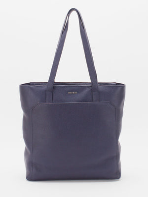 Macey Pebble Leather Tote -  Navy