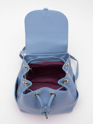 Melissa Leather Drawstring Backpack - Baby Blue