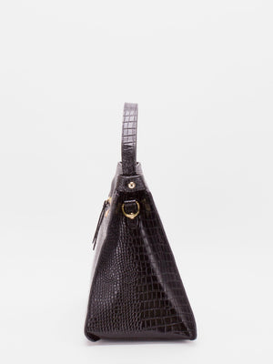 Norma Top Handle Croc-embossed Leather Satchel - Black