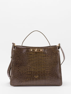 Norma Top Handle Croc-embossed Leather Satchel - Olive