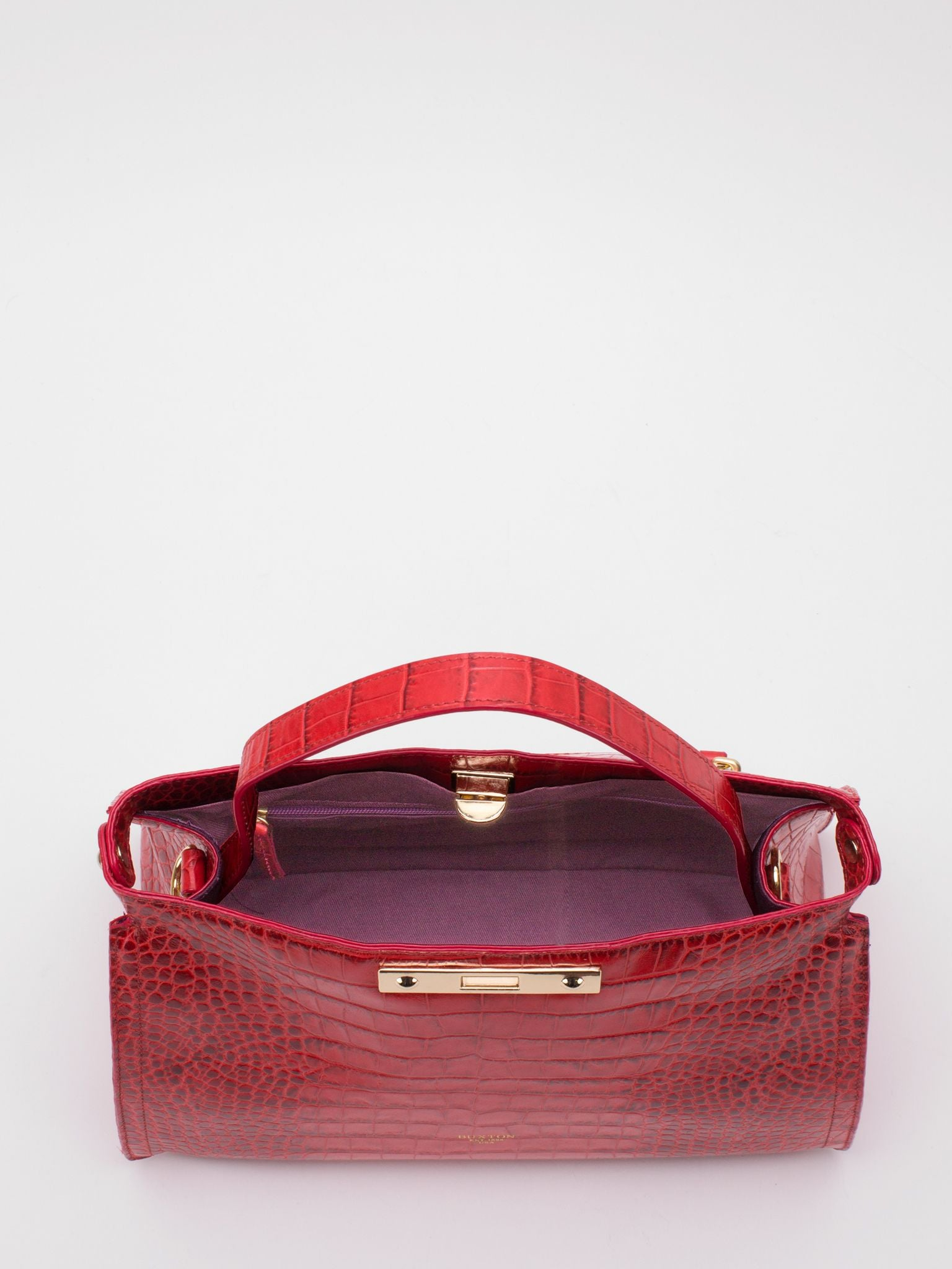 Norma Top Handle Croc-embossed Leather Satchel - Red