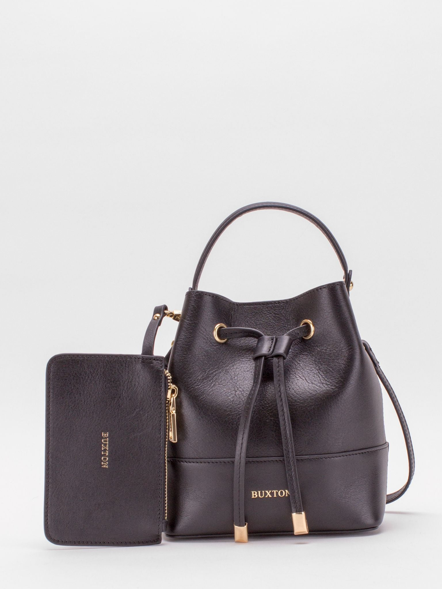 Courtney Leather Mini Bucket Bag with Matching Coin Purse - Black