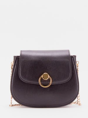 Daisy Chain Accent Leather Shoulder Bag - Black