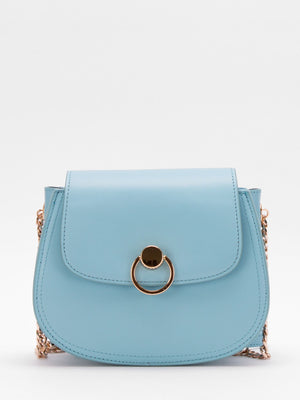 Daisy Chain Accent Leather Shoulder Bag - Powder Blue