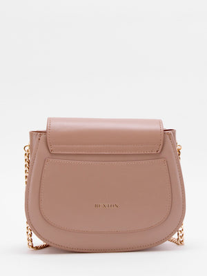 Daisy Chain Accent Leather Shoulder Bag - Taupe