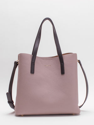 Lilian Colour Trim Leather Satchel - Heather