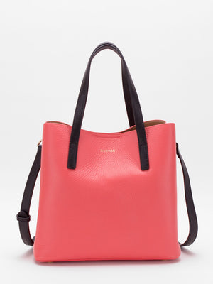 Lilian Colour Trim Leather Satchel - Coral