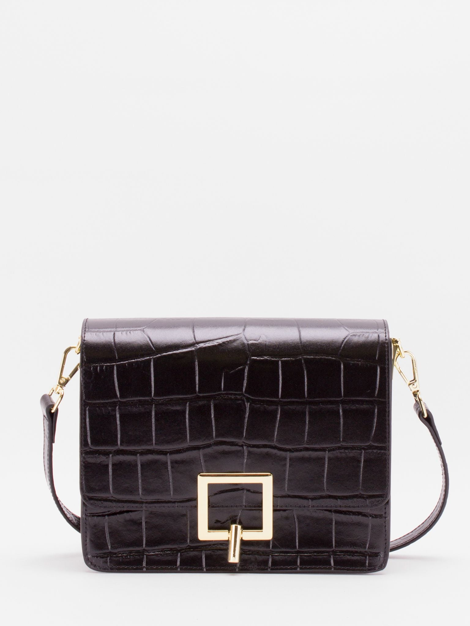 Nelly Croc-Embossed Leather Bag - Black
