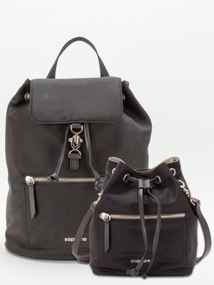 Raven & Tammy Leather Trim Microfibre Backpack & Crossbody 2pc Set