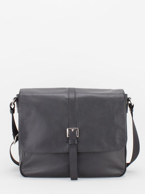 Chester Natural Grain Leather Messenger - Black