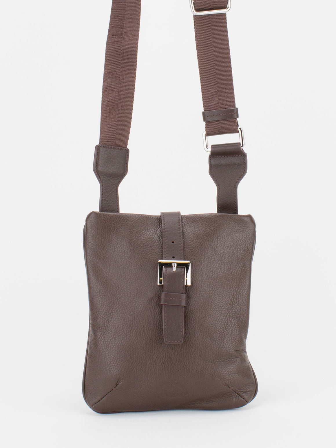 Derby Pebble Leather Crossbody - Brown
