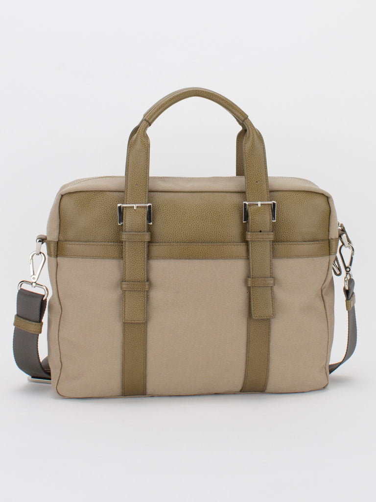 Frankie Leather Trim Canvas Briefcase - Camel