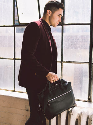 Preston Natural Grain Leather Briefcase - Black