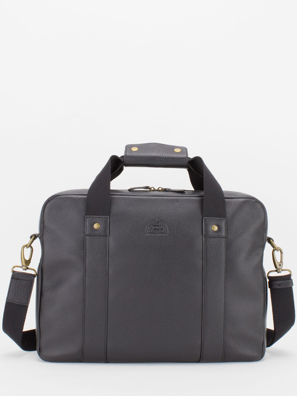 Jayden Pebble Leather Laptop Briefcase - Black