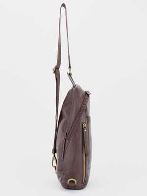 Colin Pebble Leather Sling Pack - Brown