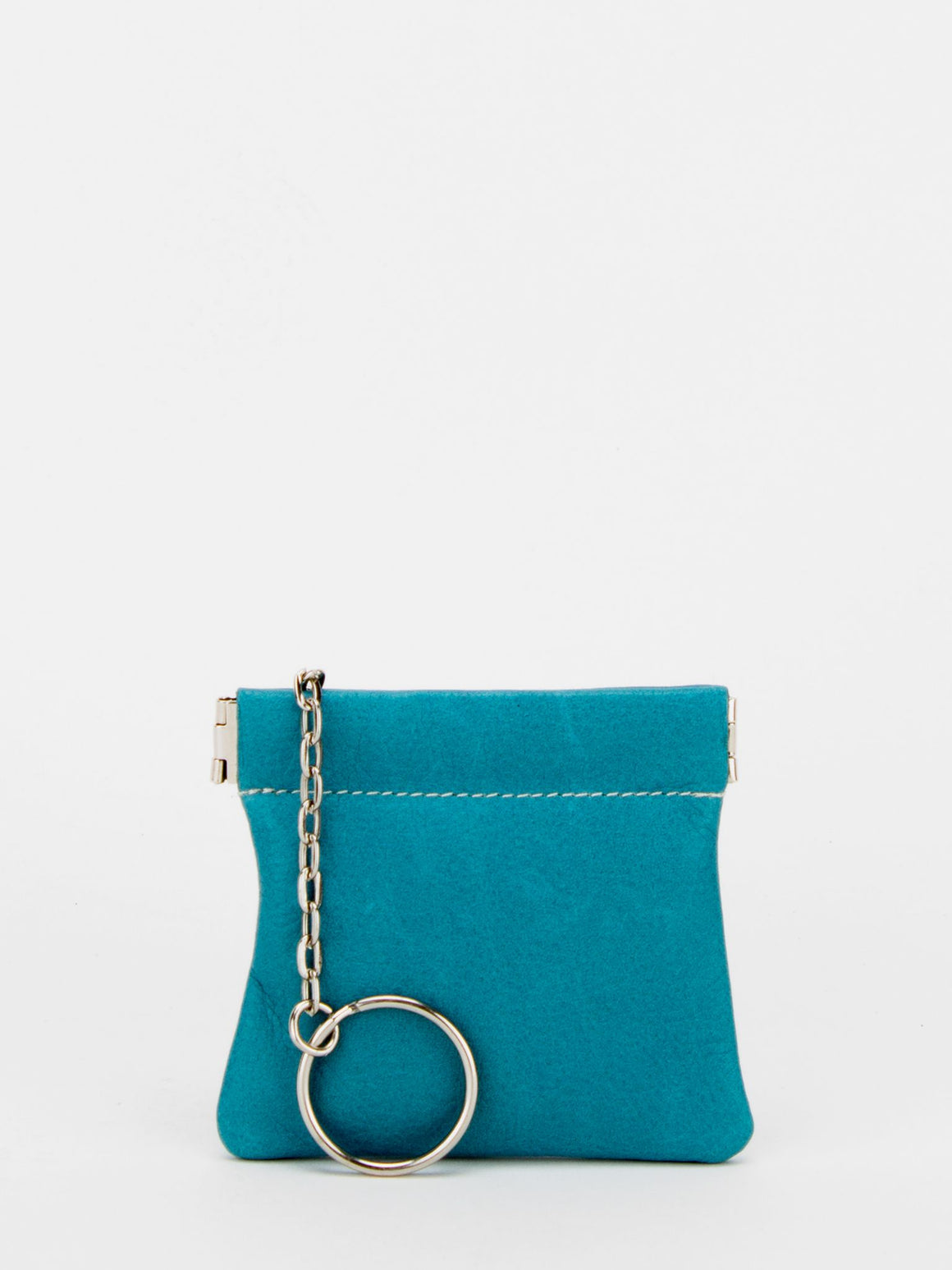 Petunia Leather Squeeze Change Purse - Turquoise