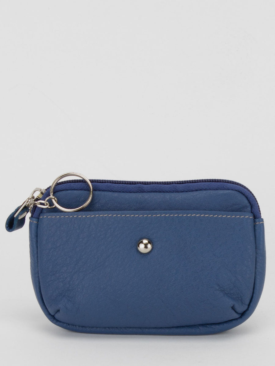 Camellia Leather Zip Top Purse - Blue