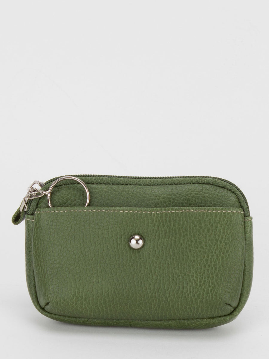 Camellia Leather Zip Top Purse - Avocado