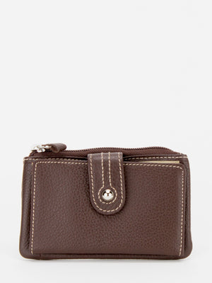 Blossom Leather Card Holder Wallet - Brown
