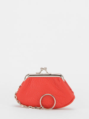 Lily Leather Small Frame Clutch - Orange