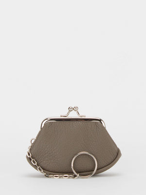 Lily Leather Small Frame Clutch - Taupe