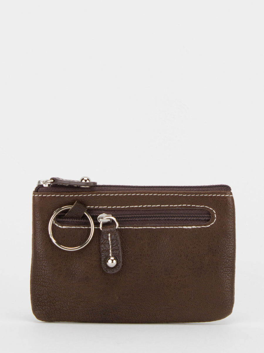 Alyssa Leather Zip Purse - Brown