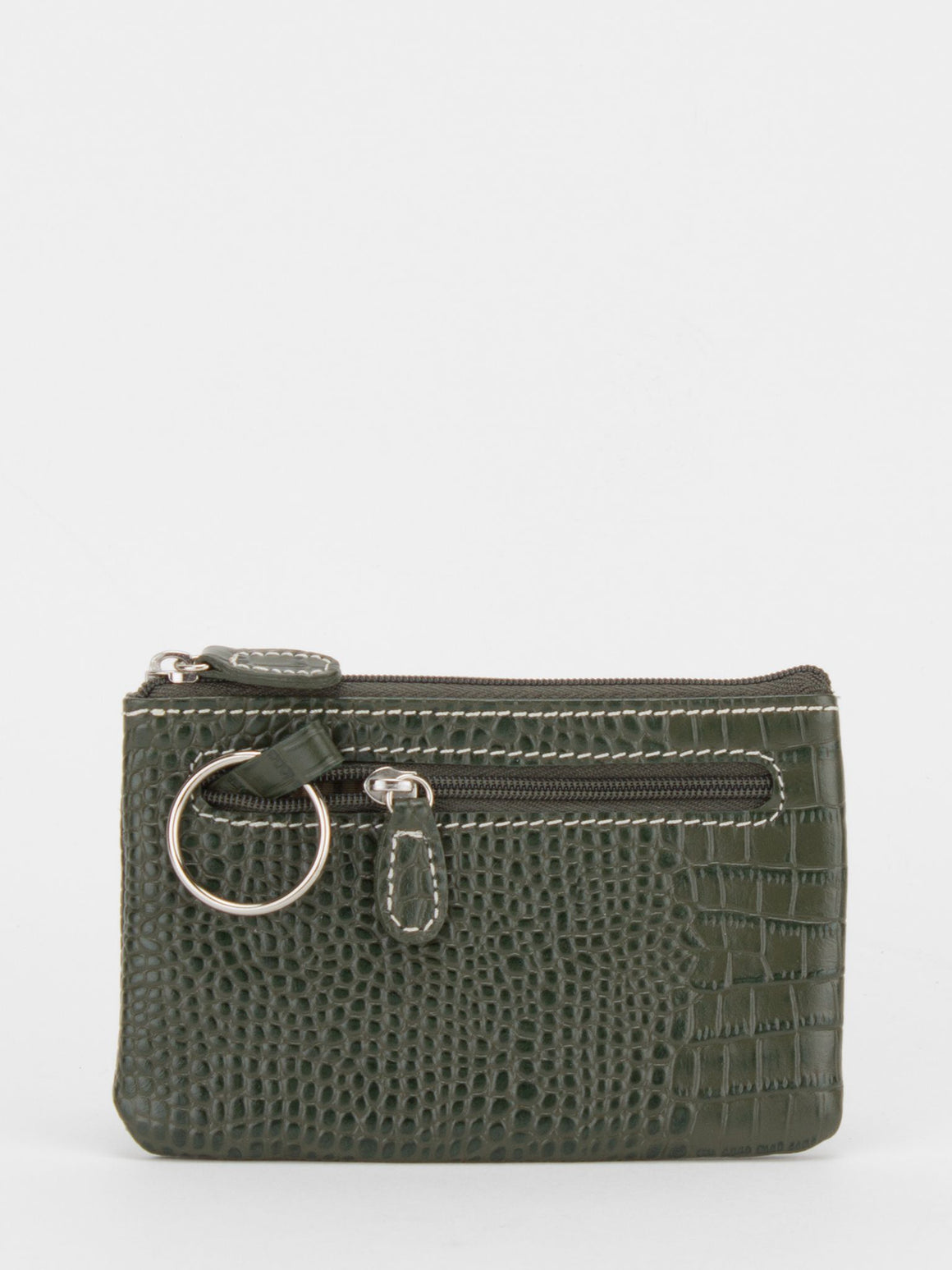 Alyssa Croc Leather Zip Pouch - Olive