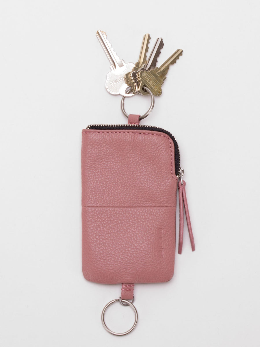 Ashton Leather Key Pouch - Dusty Rose