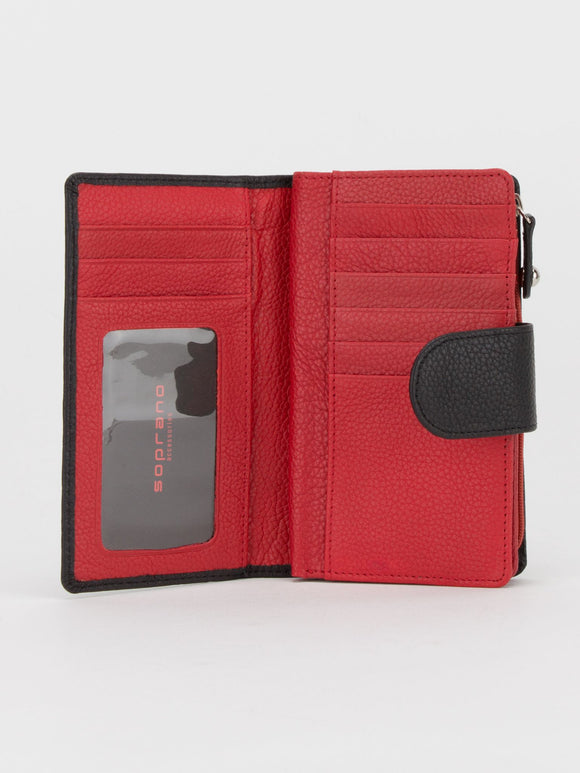 Oxford Colourblock Leather Medium Wallet - Black/Red